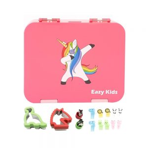 Eazy Kids 4 Compartment Bento Lunch Box - Unicorn Pink (1)
