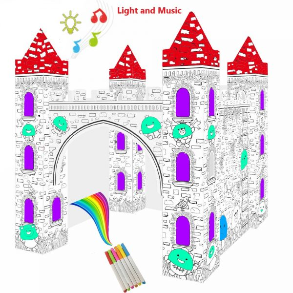 Eazy Kids DIY Doodle Erasable Painting Castle with Music and Light