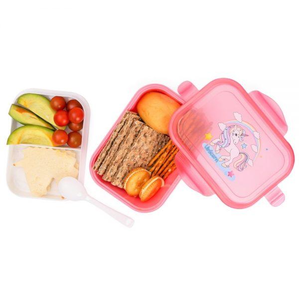 Eazy Kids Unicorn Bento Lunch Box with Spoon - Beauty