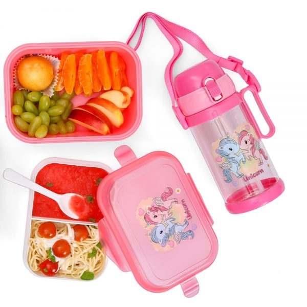 Eazy Kids Unicorn Bento Lunch Box with Spoon - Bestie