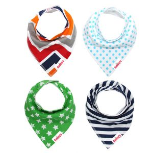 Eazy kids Bandana Bibs Set of 4 - Organic Cotton