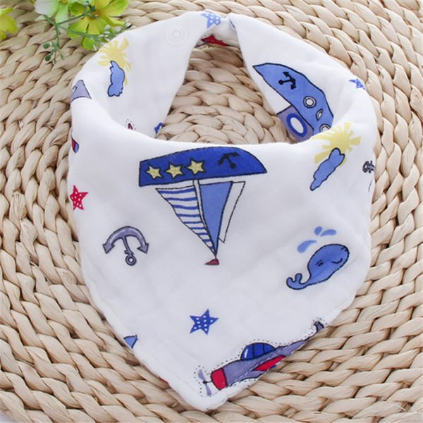 Little Story - Muslin Bandana Bibs - Set of 3 - Anchor and Ships