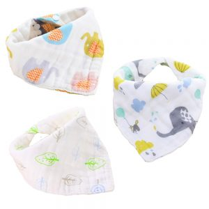 Little Story - Muslin Bandana Bibs - Set of 3 - Elephant