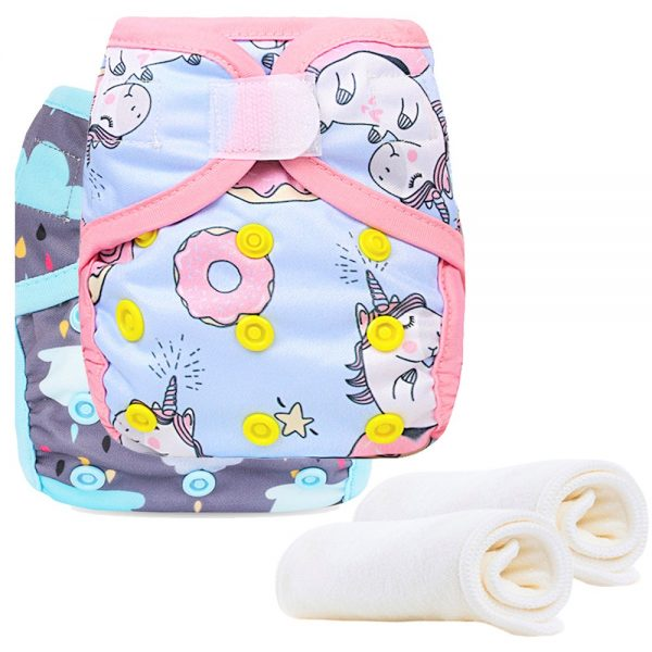 Little Story - New Born Reusable Diapers and Inserts- Set of 2 - Unicorn Cloud