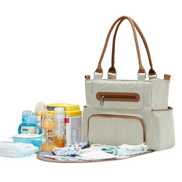 Little Story diaper bag set of 6 with hooks-Ivory