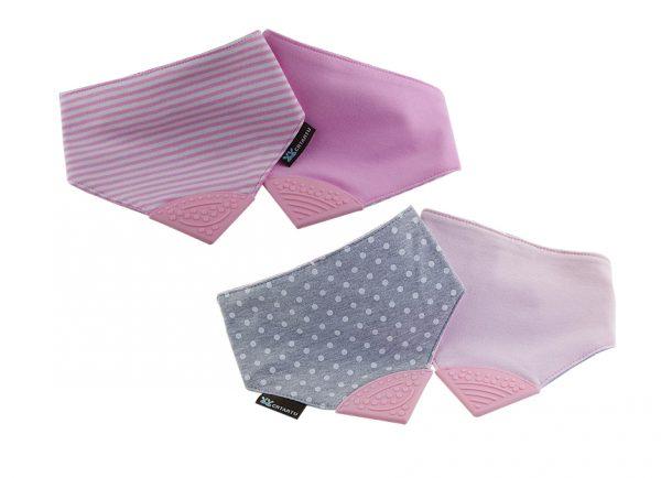 Reversible 2in1 Teething Bib - Polka Dots and Strips-Pink