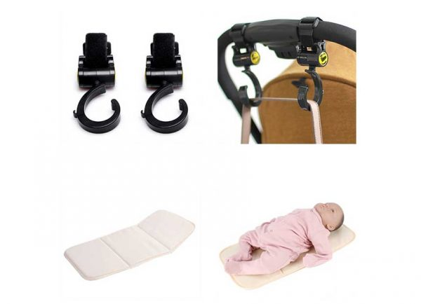 Sunveno Rotating Stroller Hooks and Diaper Changing Pad Combo