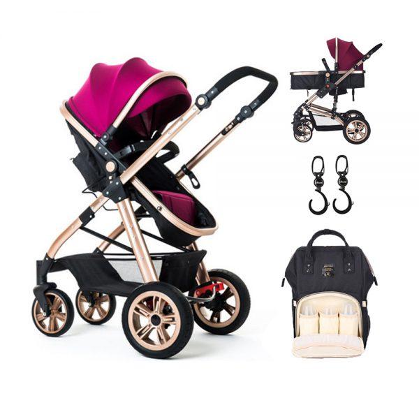 Teknum 3 in 1 Pram Stroller + SUNVENO Diaper Bag Hooks