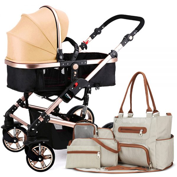 Teknum 3 in 1 Story Pram Stroller and Diaper Bag Bundle - Khaki