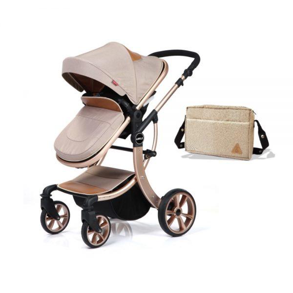 Teknum 3 in 1 Luxury Pram Stroller - Aimile - Khakhi