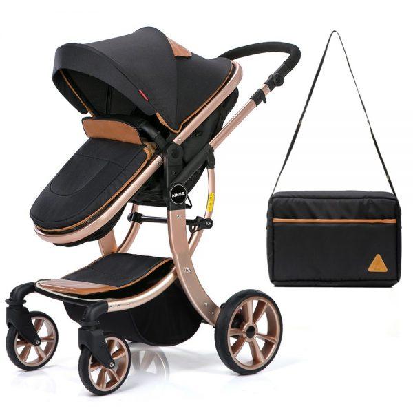 Teknum 3 in 1 Luxury Pram Stroller - Story - Black