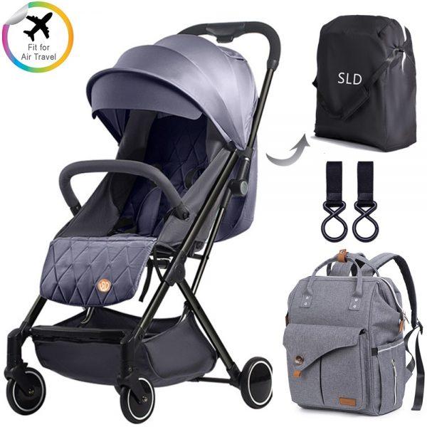 Teknum Travel Lite Stroller + Alameda Diaper Backpack - Large - Grey with Hooks