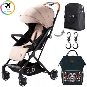 Teknum Travel Lite Stroller + Sunveno Diaper bag with USB - Black Embroidery and Stroller Hooks