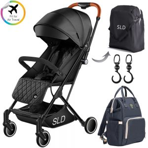 Teknum Travel Lite Stroller + Sunveno Diaper bag with USB - Black Stroller Hooks