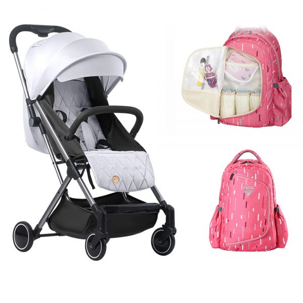 Travel Lite Stroller - SLD by Teknum + Sunveno 2 in 1 Diaper Bags - Pink +  Rotating Stoller Hook