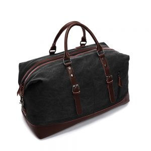 SB-Weekender Leather Duffle Bag - Black
