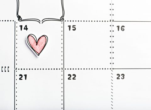 Valentines day marked with red heart in the calendar