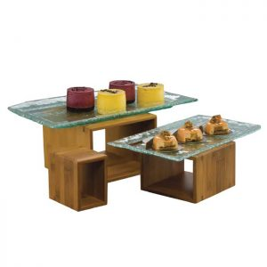 DARK BAMBOO BUFFET RISER (SET OF 3)