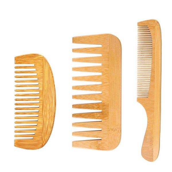 3PCS Hair Combs Set Wooden Comb Wide Tooth Comb Natural Peach Wood Fine Comb Anti-Static Massage Beard Classic Hair Styling