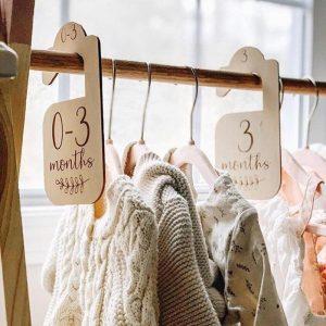 Baby Closet Organizer ,Nursery Decor,Wood Baby Decor, Newborn Milestone Card