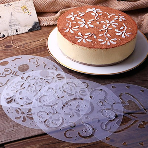 4Pcs/Set Plastic Pastry Stencils Flower Spray Birthday Cake Mold Decorating Bakery Tools DIY Mould Fondant Template Accessories