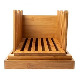 Bamboo Bread Slicer - Wooden Bread Cutting Board with Crumble Holder