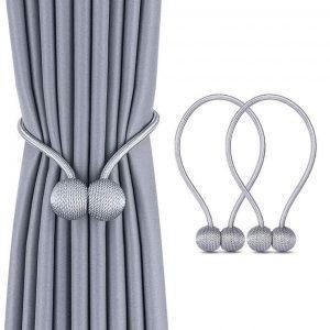 Magnetic Curtain Tiebacks - Grey -1 Pair