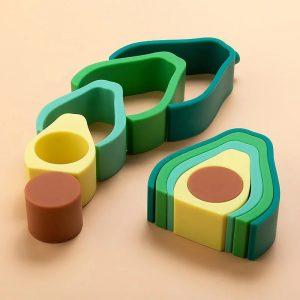 Myna Box stacking teething toy - Avocado
